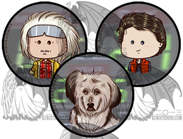 Back to the Future Chibi Head Buttons by kuroitenshi13