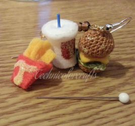 Mini Crochet Cheesburger Menu Earrings by technicolorcrafts
