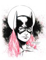 Batgirl  with red hair - pre Con doodle! by aethibert