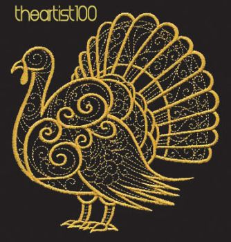 PEACOCK GOLD EMBRODRY PNG FREE by TheArtist100