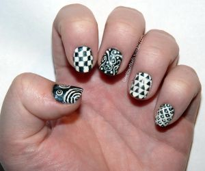 Misc. - black and white hodgepodge nails by ShiversTheNinja