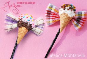 Ice Cream Bow bobby pin by Jeyam-PClay