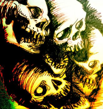 bunched up skulls by heckthor