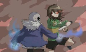 Undertale chara vs sans by RaystherAnimations