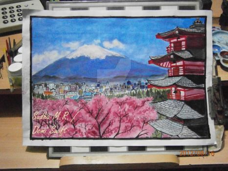 Mount Fuji - Japan  (Painting) by DemiSwift