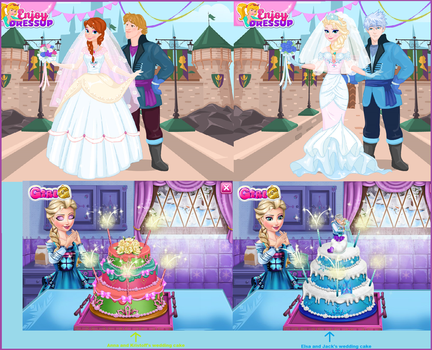 Anna and Elsa's weddings. by Smurfette123