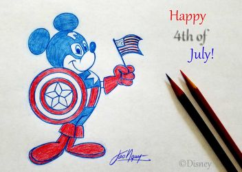 Tao Nguyen's Captain America Mickey Mouse Drawing by TaoNguyenArts