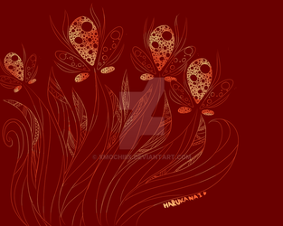 Abstract Fire Flowers by xMochiiix