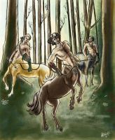 Centaurs At The Clearing by slytherinfiend