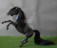 Classic Black Unicorn Stallion by ElkStarRanchArtwork