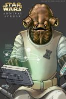 Star Wars, Admiral Ackbar - A4 Coloured Sketch by Carl-Riley-Art