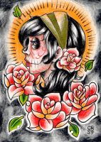 Day of the Dead gypsy drawing by misscarissarose