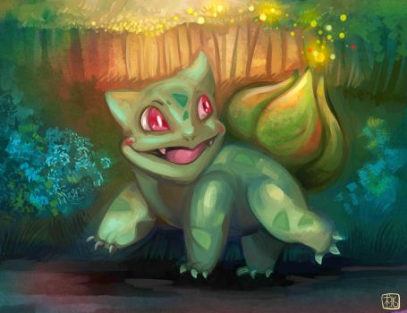 Bulbasaur forest magic by CaramelFrog