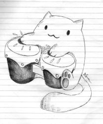 .:Inktober Day 6: Bongo Cat!:. by E-Tiger