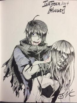 InkTober Day 4 - HUNGRY ft. Emil by Kittyninja125