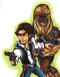 Han Solo and Chewie by greciiagzz