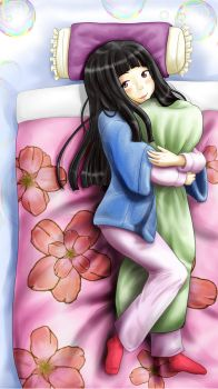 A girl holding a pillow by akihiro