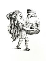 Girl with little creature by DoodleLucyArt