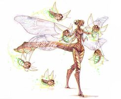 dragonfly and glowbugs by drachenmagier