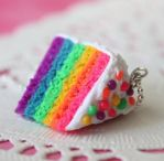 Rainbow Cake Necklace by Cutetreatsbyjany