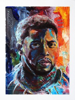 Black Panther/Chadwick Boseman - Abstract Painting by BigAlien