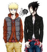 Naruto and Sasuke Render by bbernkastel