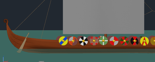 Side of Boat and some Shields by Mistress-of-Emotions