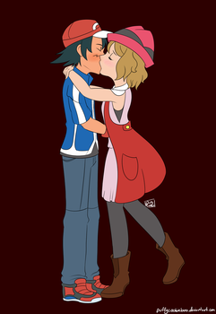 Commission - Ash x Serena by PuffyCookie