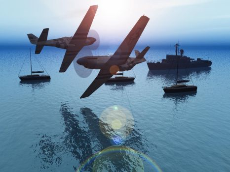 Air Gaming Over The Water by flightlevel-380