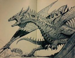 Inktober 2017 #9 - Undead Dragon by Teffles