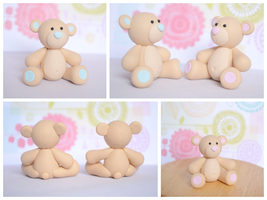 Baby Bears - Cute Polymer Clay Cake Sculpture by TheLinnypig