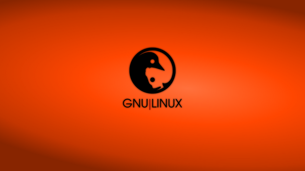 GNULinux YinYang Wallpaper | Orange by Dablim