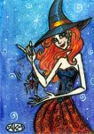 Deidre and her Spider - Halloween Witch ACEO by alyssakay