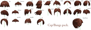 MMD- Bangs-Cap Pack -DL by MMDFakewings18