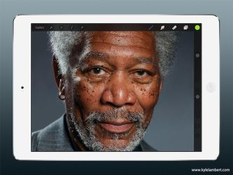 MORGAN FREEMAN - PHOTO-REALISTIC IPAD PAINTING by kyle-lambert