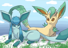 Leafeon and Glaceon by PachirisuLuva