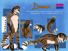 Daemon Reference Sheet 2016 (main fursona) by Spottedfire23