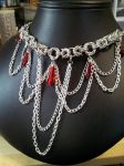 Mozantine Drop Necklace Red Drops With Chain Drape by BacktoEarthCreations