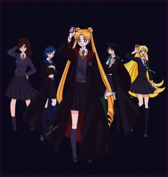 Sailor Moon x Harry Potter by lisGinka