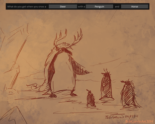 04-12-14 Deer-Penguin-Horse-Garv by BobGarvinArt
