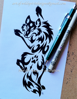 Paw Print Climbing Wolf Tribal Design by WildSpiritWolf