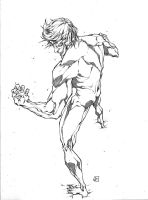Eren on Titan form by marvelmania