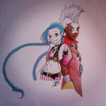 jinx and ekko  by Delyassodicuori