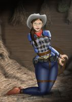 cowgirl tied in the barn by DarkChaosBlack