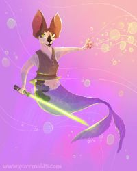 Jedi Sphynx Purrmaid Commission by kiki-doodle
