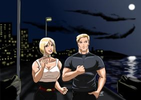 Power Girl and Captain Atom - A Night out by adamantis