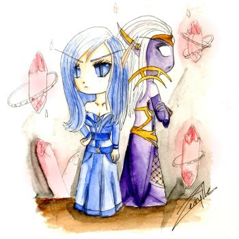 Stellagosa and Valtrois Chibi by Aedrylle