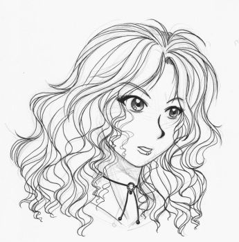 curly haired beauty-lineart by reyd
