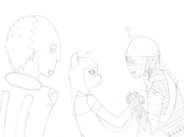 Can you say Love Triangle? .:Lineart:. by 6SeaCat9