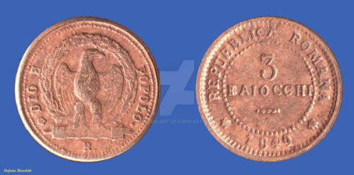3 Baiocchi of the Roman Republic of 1849 by Book-Art
